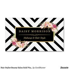 Love the striped design on this! Gold Foil Business Cards #rosegold…