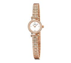 Faubourg Hermes rose gold watch set with diamonds, diameter 15.5mm, white lacquered dial set with diamonds, quartz movement, rose gold bracelet