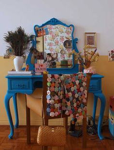 So fun! I love the use of bold color, and the knick knacks that make this vanity truly unique.