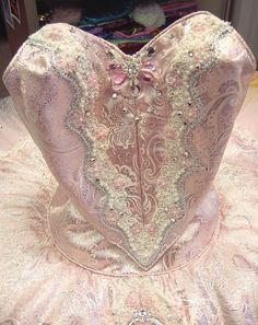 Pink and silver brocade bodice for Ballet Nouveau Colorado Sugarplum. Lace has beads and rhinestones worked into pattern. (2nd of two pins)