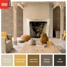 Kleurinspiratie #okergeel, natuurtinten in combinatie met het mooie behang van #BNwallcoverings uit de collectie Essentially Yours. Deze collectie is te bekijken op onze site. Gebruikte verfkleuren van #FlexaPure, #dimago, #HistorOne  http://www.verfenwand.nl/assortiment/behang/collecties-behang/bn-wallcoverings-essentially-yours