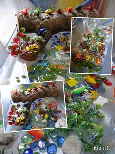 "Fish, frogs and shells - from Rachel ("",) Remember to check out the rest of her amazing page! loads of ideas Simple Christmas Cards, Christmas Math, Christmas Activities, Water Tray, Sand And Water, Ocean Animal Crafts, Play Image, Reggio Classroom, Small World Play"