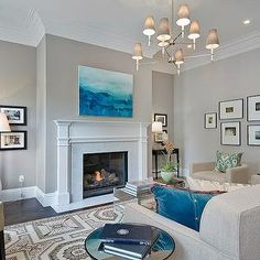 Cardea Building Co. - living rooms - gray, walls, marble, fireplace, surround, art gallery, oatmeal, linen, tufted, sofa, oatmeal, linen, ba...