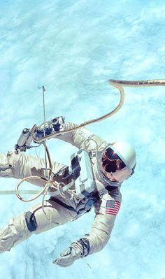 NASA Gemini Mission Spacewalk. Famous shot. Note the hand held maneuvering gun