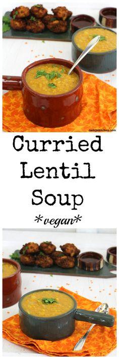 Curried lentil soup - A pantry friendly #vegan meal | cadryskitchen.com #soup #lentils #curry #lunch