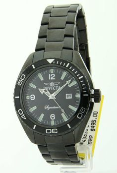 """Invicta Signature II Mens Watch 7320 Invicta. $69.99. All Stainless Steel Case & Band. Striking Black Round Face. Sleek Black Stainless Steel Matte & Mirror Finish Adjustable Band. Analog with Silvertone/Pale Green Tritnite Luminous Hands & Markers. """"Date Window at 3"""""""" Position"""""""""""". Save 86%!"""