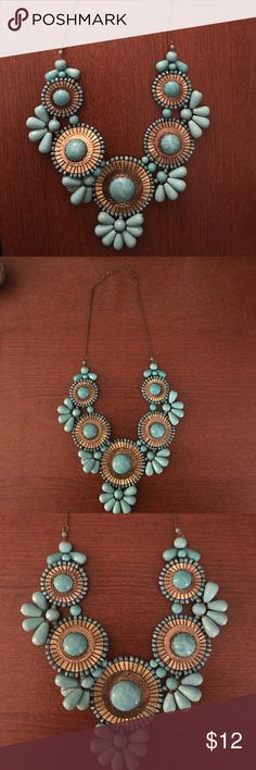 Beaded Turquoise  Statement Necklace Beautiful large statement necklace! Turquoise beading with gold accents- can really make any outfit pop! Jewelry Necklaces