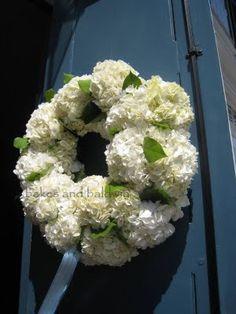 hydrangea wreath at the church door