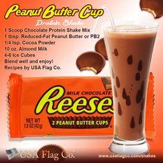 The Peanut Butter Cup Protein Shake Recipe - 2 Scoops Chocolate Whey Protein Shake Mix, tsp. Reduced-Fat Peanut Butter or Instead of almond milk use protein shake chocolate for the liquid. Protein Smoothies, Protein Muffins, Smoothie Proteine, Whey Protein Shakes, Chocolate Protein Shakes, Apple Smoothies, Protein Cookies, Healthy Shakes, Healthy Drinks