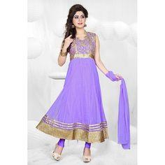 Designer Purple Embroidered Net & Raw Silk Anarkali Salwar Suit - 15436 ( ML-901 )
