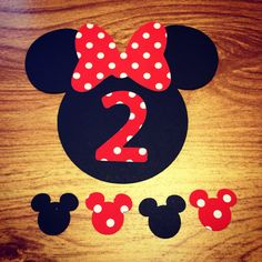 Minnie Mouse Cut Outs with Bows & Birthday by DimenchonsDesigns