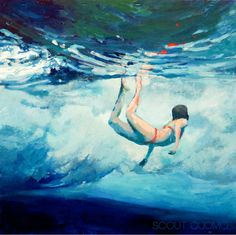 Beneath the Break // Giclee Print of original painting of woman beneath the pulse of the waves // 12 x 12