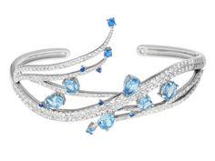 More sparkle? Yes please! - 3.78ctw Round, Pear Shape, Oval Blue, Neon Blue Apatite, 3.22ctw Round White Topaz Silver Bracelet