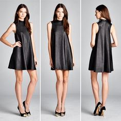 D5333 Loose fit sleeveless mock neck swing dress. Has center back seam. The fabric of this dress is made with medium weight embossed pleather fabric that has texture drapes well and has excellent stretch.  #cherishusa #cherishapparel #shopcherish #fallfashion #fashionbuyer #boutique #fashion #fashiondiaries #instafashion #instastyle #fashionstyle #ootd #fashionable #fashiongram #fallstyle #clothingbrand #fall2015 #fallfashion #dress #dresses #mockneck #embossedpleather #swingdress…