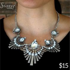 Fearless Necklace, $15  Dress her up, dress her down, we want to wear her everywhere with everything! Date night? check. Shoe shopping? Check.  T-shirt & jeans? Check  Red Carpet? Check! #instaboutique #dreamy #fierce #flightsoffancyweek #flightoffancy #daydream #swoon #swoonweekly #bling #necklace #fearless #rhinestones #jewelry #accessories #accessorize #fly #soar #dream #beautiful #startup #ilovemyjob #cantwait #shopsmall #womanowned #versatile #datenight #shoeshopping #redcarpet #ootd