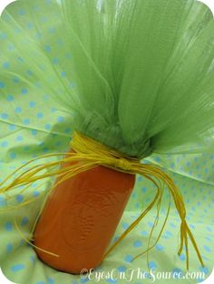 Easter Mason Jars~ Carrot Top- http://atozebracelebrations.com/2013/03/how-to-decorate-easter-mason-jars.html
