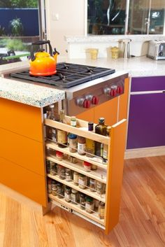 Nice way to store all those tall bottles and spices.  Also -- the countertop is recycled glass