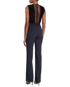 W06SP Galvan Velvet Illusion-Front Sleeveless Jumpsuit, Black/Midnight