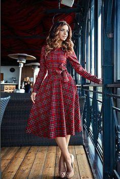 Plaid Long Sleeve Mini Dress Women O-neck Bow Dress