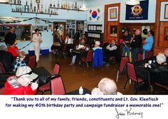 Thank you to all of my family, friends, constituents and Rebecca Kleefisch for making my 40th birthday party and fundraiser a huge success this past Friday evening!