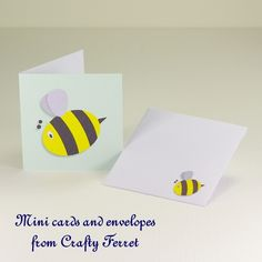 8 Mini Bumble Bee notelets, greetings or gift tag cards and envelopes. £2.40