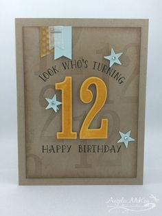 12th Birthday Card with Stampin' Up! Number of Years stamp set