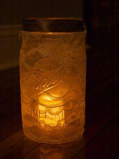 Ray & Day: DIY Lace-Covered Mason Jars