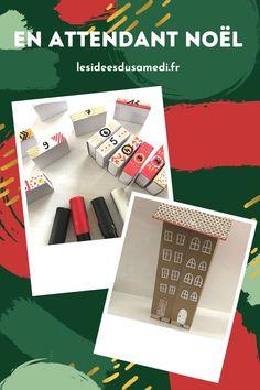 Comment fabriquer un calendrier de l'Avent avec des boites d'allumettes ? Une jolie maison à découper et à décorer avec vos enfants. Theme Noel, Monopoly, Advent House, Cute House, Cereal Boxes, Seed Packets, Bottle Top