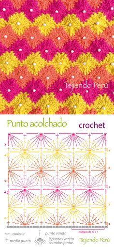 Crochet: diagrama del punto acolchado!  Con una perla en cada rombo queda lindo ;)