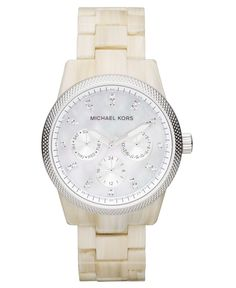 Michael Kors Watch, Women's Chronograph Ritz White Horn Acetate Bracelet 37mm MK5625 - First @ Macy's! - Michael Kors - Jewelry & Watches - Macy's