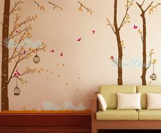 Tree Vinyl Wall Decals wall sticker kids wall decal nursery vinyl decals-Forest with birdcage-set of 3