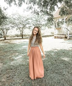 Loving the Abigail Stripe Top (link in bio) paired with the Contemporary Satin Maxi Skirt from Forever 🌻 Maxi Skirt Outfits, Striped Maxi Skirts, Dress Skirt, Satin Skirt, Modest Summer Outfits, Spring Outfits, Teaching Outfits Summer, Modest Church Outfits, Modest Fashion