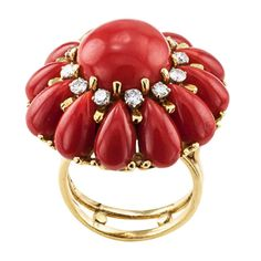 Red Coral Diamond Gold Ring 2