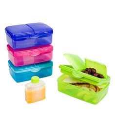 Slimline Quaddie Lunchbox: four separate compartments with lids, plus a drink bottle.  {Container Store}