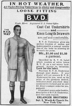 Advertisement for BVD undershirts and drawers underwear by Erlanger Brothers in New York, 1907.