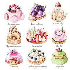 Enya is a UK based food illustrator and graphic designer who specialise in a varity of food, patisserie and florals as well as creating stunning logo designs for cake businesses. Cake Roses, Arte Copic, Food Art Painting, Desserts Drawing, Dessert Illustration, Cute Food Art, Food Sketch, Watercolor Food, Cake Business