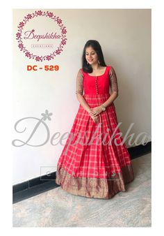Indian gowns dresses - DC 529 Gorgeous red color floor length anarkali dress with pattu boarder Anarkali dress with pattu sleeves For queries kindly WhatsApp 9059683293 Long Gown Dress, Frock Dress, Anarkali Dress, Long Frock, Lehenga, Sarees, Long Gowns, Kalamkari Dresses, Ikkat Dresses