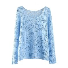 Cute Cutout Long Sleeve Solid Pullover (10.120 CRC) ❤ liked on Polyvore featuring tops, sweaters, long sleeve sweaters, long sleeve pullover, pullover sweater, sweater pullover and blue top