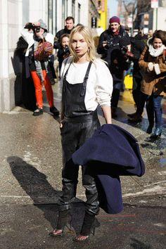 Two words: leather overalls #NYFW #streetstyle #fashionweek