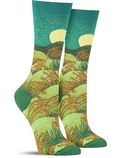 Raccoon Mischief Hot Sox Women/'s Crew Socks Teal New Novelty Forest Fashion
