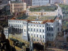 """""""Cellamare Palace in Naples"""" - Detail of """"View of Naples"""" (before 1729) by Gaspar van Wittel (Amersfoort 1653-Rome 1736) - Museum """"Colonna-Stigliano Palace"""" in Naples."""
