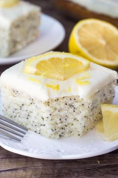 This Lemon Poppy Seed Cake with Cream Cheese Frosting is soft, moist & deliciously buttery with a fresh lemon flavor. Dotted with poppy seeds & topped with cream cheese frosting - it's the perfect dessert for lemon lovers! Lemon Desserts, Lemon Recipes, Just Desserts, Baking Recipes, Sweet Recipes, Delicious Desserts, Health Desserts, Frosting Recipes, Cake Recipes