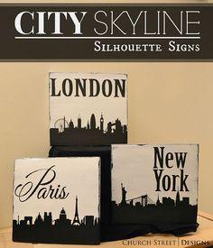 City Skyline Trio - London, Paris, New York - Hand Painted Silhouette Signs