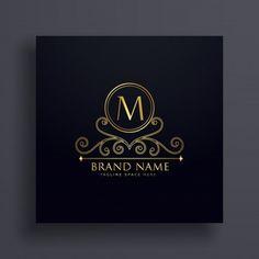 Letra premium M logo conceito design com elemento decorativo