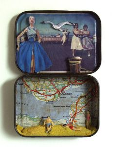 Make one of these for Mom with a Cape May map in the background. 3d Collage, Collages, Altered Tins, North Somerset, Trash Art, Matchbox Art, Tin Art, Altoids Tins, Miniatures