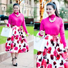 Turtleneck + Floral Midi Skirt http://www.lynnegabriel.com/?p=25528