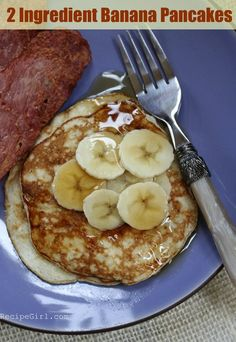 Sharing the recipe for 2 Ingredient Pancakes- banana + egg, that's it! Nutritional information, weight watchers points and photographs included.
