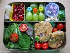 Bento-Mania ..... crazy about Japanese Lunch Box: Bento: Vegan quinoa meatballs with salad in LunchBots Bento Cinco and PLANETBOX Rover