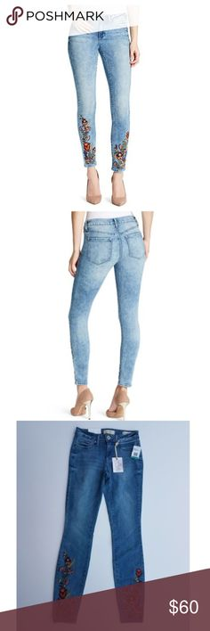 NWT Jessica Simpson Embroidered Denim Brand New with Tags Jessica Simpson Embroidered Kiss Me Super Skinny Jean! These chic jeans are enhanced with a boho floral embroidery for an awesome 70's look! The light wash denim paired with the feminine embroidery are sure to be a wow factor in your closet.  Approx 30-in inseam Skinny Leg Jessica Simpson Jeans