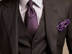 radiant orchid tie with purple pocket square and black jacket